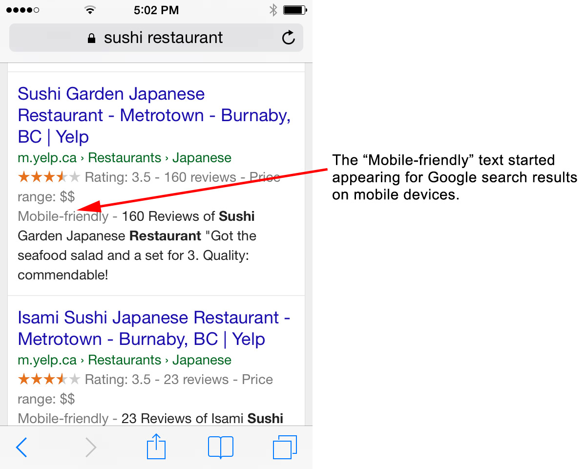 Google Mobile Friendly in the Search Results
